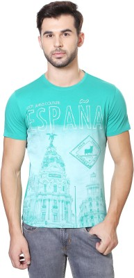 Van Heusen Printed Men's Round Neck Green T-Shirt