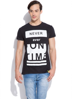 Silly People Graphic Print Men's Round Neck Black T-Shirt