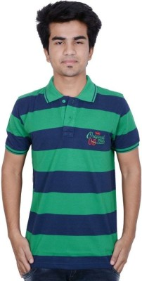 Being Dessi Solid Men's Flap Collar Neck Green, Red, Blue T-Shirt