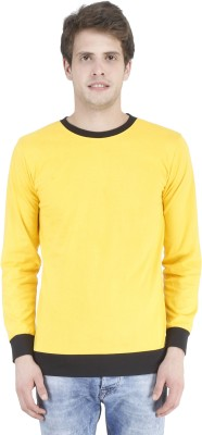 Bonzer Fashion Solid Men's Round Neck Yellow, Black T-Shirt