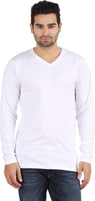 R - Cross Solid Men's V-neck White T-Shirt
