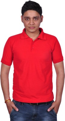 Gdivine Solid Men's Polo Neck Red T-Shirt