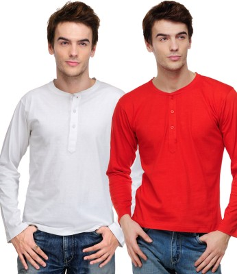 TSX Solid Mens Henley White, Red T-Shirt