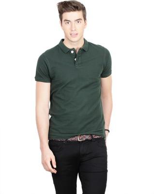 Basics Solid Men's Polo Neck Dark Green T-Shirt