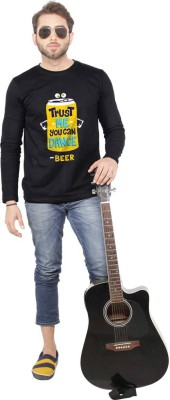 Beer Studio Printed Men's Round Neck Black T-Shirt