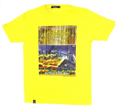 99dailydeals Printed Women's Round Neck Yellow T-Shirt