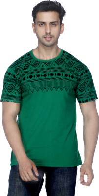 Demokrazy Printed Men's Round Neck Green T-Shirt