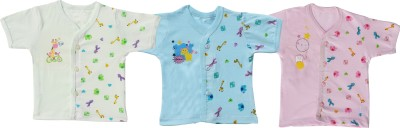 Infano Printed Baby Boy's V-neck Light Blue, Light Green, Pink T-Shirt