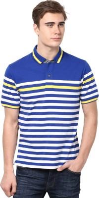 Mudo Striped Men's Mandarin Collar Multicolor T-Shirt