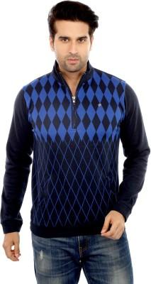 GOT IT Self Design Men's Flap Collar Neck Dark Blue T-Shirt