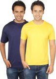 Quetzal Solid Men's Round Neck Blue, Yel...