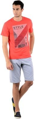 Keywest Graphic Print Men's Round Neck Orange T-Shirt