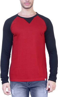 Unkonventional Solid Men's Round Neck Maroon, Black T-Shirt