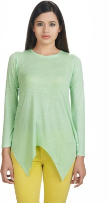 Defossile Solid Women's Round Neck Light Green T-Shirt