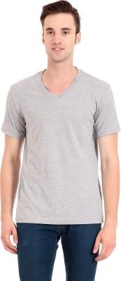 Zeug Solid Men's V-neck Grey T-Shirt
