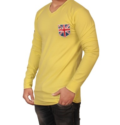 The Desi Attire Solid Men,s V-neck Yellow T-Shirt