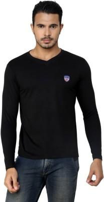 Free Spirit Solid Men's V-neck Black T-Shirt