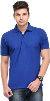 Kiosha Solid Men's Polo Blue T-Shirt