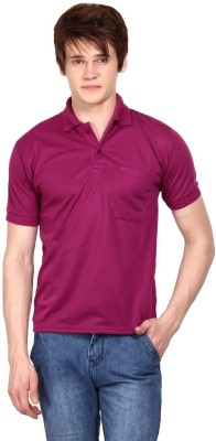Wajbee Solid Men's Polo Neck Pink T-Shirt