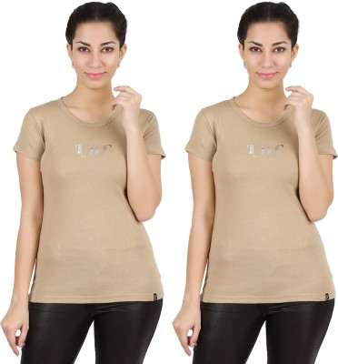 Twin Birds Printed Women's Round Neck Beige T-Shirt