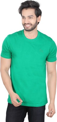 LUCfashion Solid Mens Round Neck Green T-Shirt
