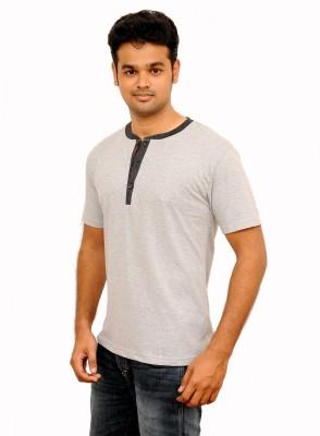 Vagga Self Design, Solid Men's Henley Grey T-Shirt