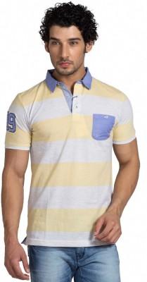 Klub Fox Striped Men's Polo Neck Yellow T-Shirt