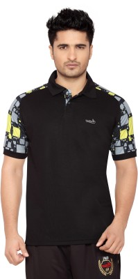 Wolf Printed Men's Polo Neck Multicolor T-Shirt