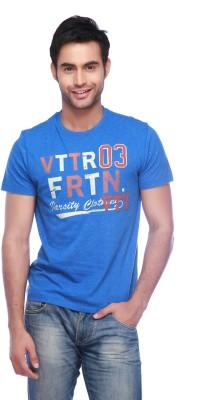 Vettorio Fratini Printed Men,s Round Neck Dark Blue T-Shirt