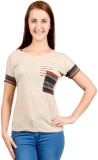 GNC Solid, Striped Women's Round Neck Be...