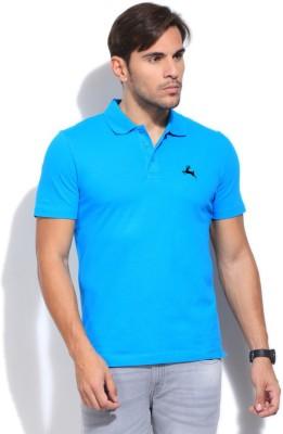 Deer Park Solid Men's Polo Neck Light Blue T-Shirt