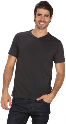 Mudo Solid Men's V-neck Black T-Shirt