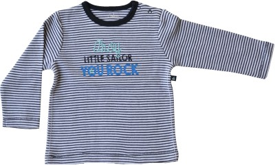 Babeez Striped Baby Boy's Round Neck Grey T-Shirt