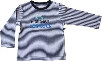 Babeez Striped Baby Boy's Round Neck Grey T-Shirt