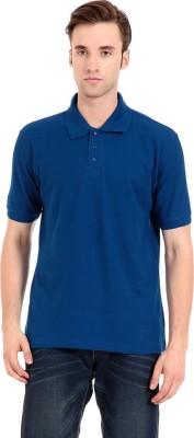 Zeug Solid Men's Polo Neck Blue T-Shirt