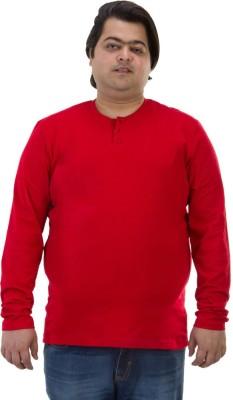BIGBANANA Solid Men's Henley Red T-Shirt