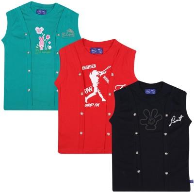 SPN Garments Printed Girl,s Round Neck Red, Black, Green T-Shirt