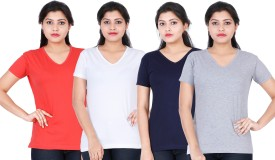 Fleximaa Solid Women's V-neck Multicolor T-Shirt(Pack of 4)