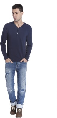 Jack & Jones Solid Men's Henley Blue T-Shirt
