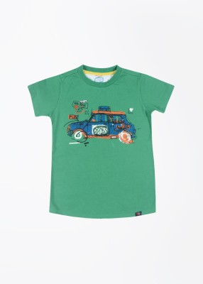 Nauti Nati Printed Boy's Round Neck Green T-Shirt