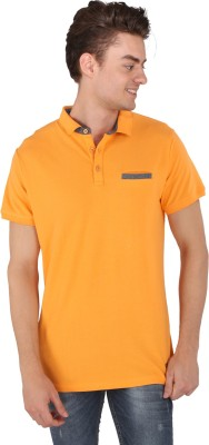 Caricature Solid Men's Polo Neck Yellow T-Shirt