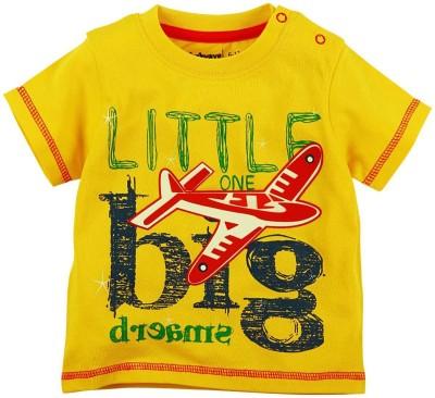 Babyoye Printed Boy's Round Neck Yellow T-Shirt