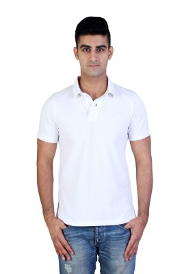 Bridge Solid Men's Polo Neck White T-Shirt