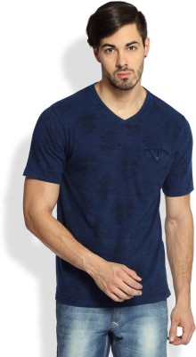 Difference Of Opinion Printed Men's V-neck Blue T-Shirt