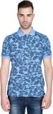 T-Base Printed Men's Polo Neck Blue T-Sh...
