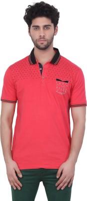 Purple Haze Floral Print Men's Polo Neck Red T-Shirt