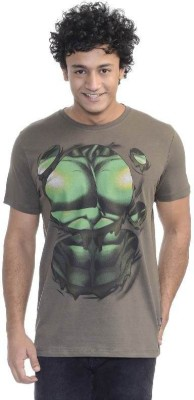 Hulk Printed Men's Round Neck Grey T-Shirt