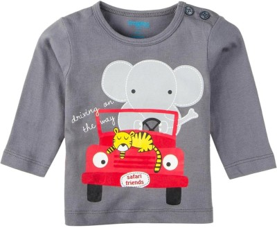 Snuggles Printed Baby Boy's Round Neck Grey T-Shirt