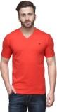 Dazzgear Solid Men's V-neck Red T-Shirt