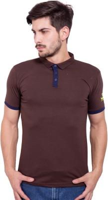Jangoboy Solid Men's Turtle Neck Brown, Dark Blue T-Shirt